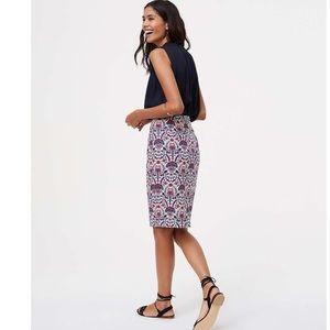 LOFT Petite Floral Mosaic Pencil Skirt size 2P NWT